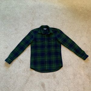 Uniqlo Green and Navy Thick Plaid Flannel